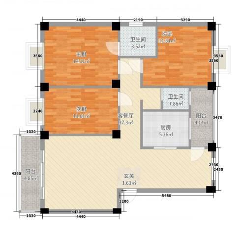 合顺景苑3室1厅2卫1厨131.00㎡户型图