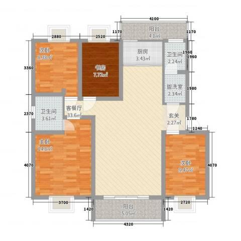 合顺景苑4室2厅2卫1厨136.00㎡户型图