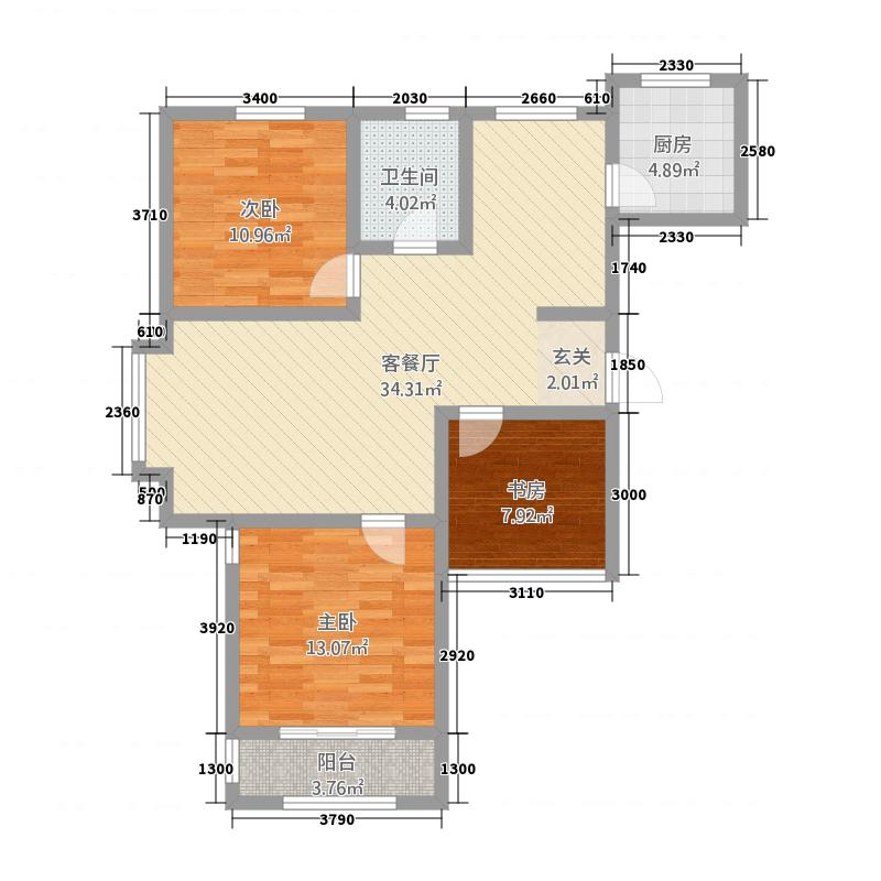 大华名都1114.20㎡二期高层1户型3室2厅1卫1厨