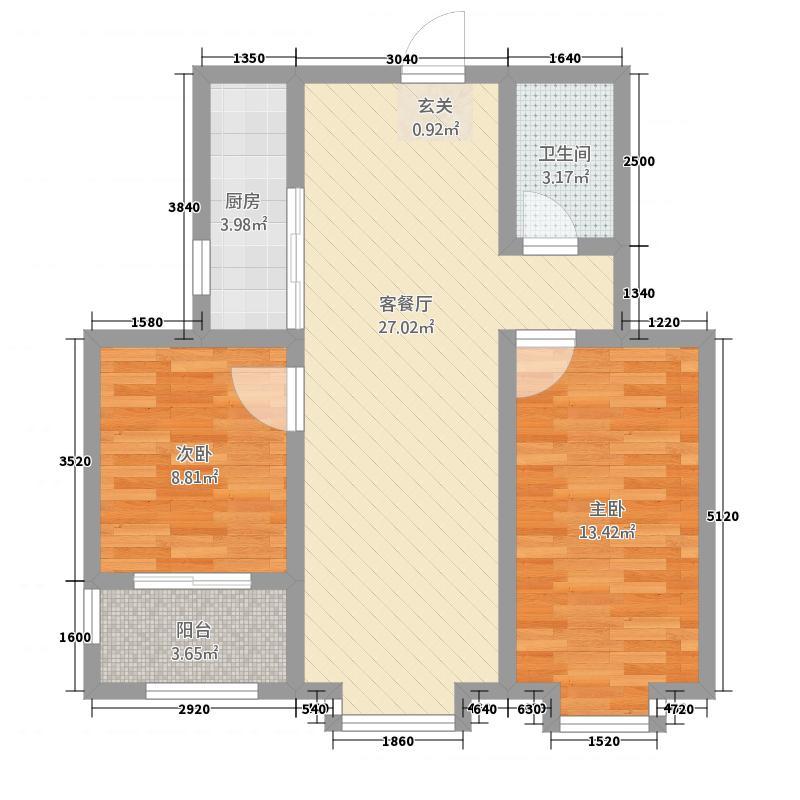 大华名都287.20㎡二期高层2户型2室2厅1卫1厨
