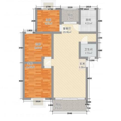 合顺景苑3室1厅1卫1厨70.25㎡户型图