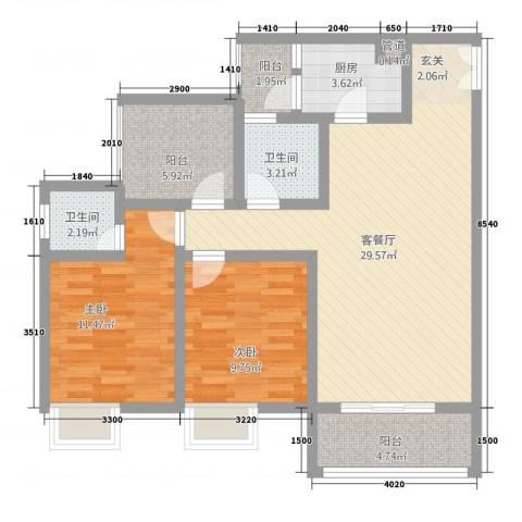 恒森・摩登时代2室1厅2卫1厨72.54㎡户型图