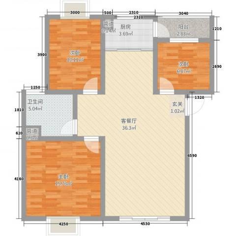丽江映像3室1厅1卫1厨7117.00㎡户型图