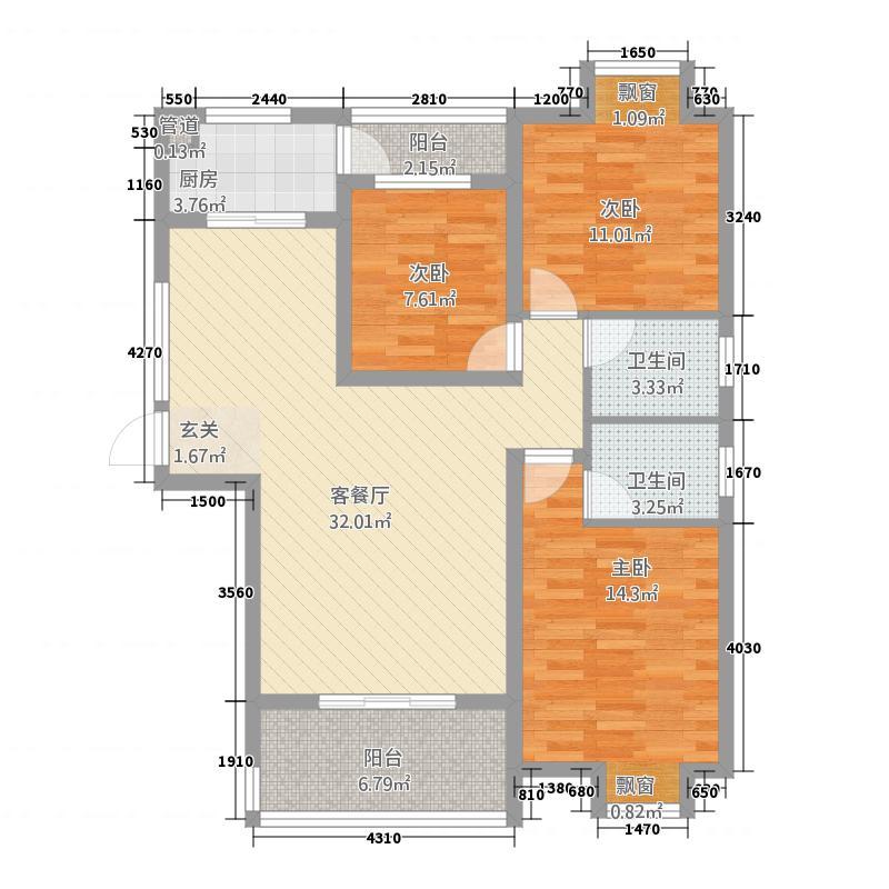 随州城东国际121.54㎡城东国际单张L户型3室2厅2卫1厨