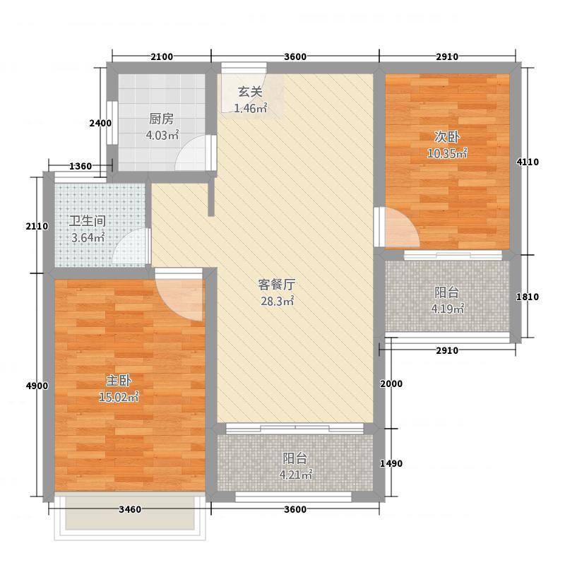 海亮世纪新城383.20㎡A3户型2室2厅2卫1厨
