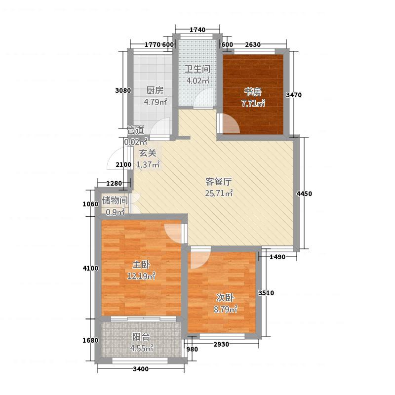 圣泰嘉苑1.20㎡多层B户型3室2厅1卫1厨