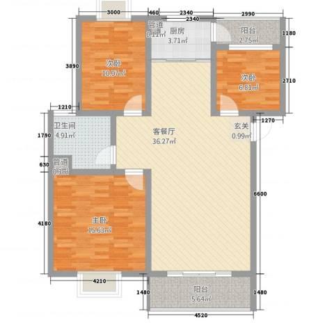 丽江映像3室1厅1卫1厨7317.00㎡户型图