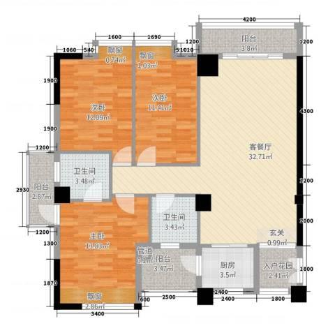 龙泉嘉苑3室1厅2卫1厨13118.00㎡户型图