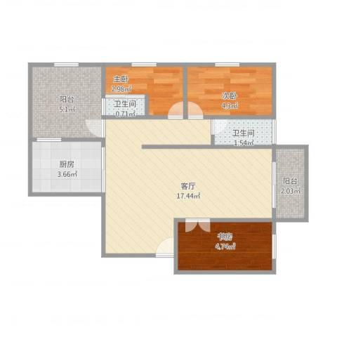 明发国际新城3室1厅2卫1厨59.00㎡户型图