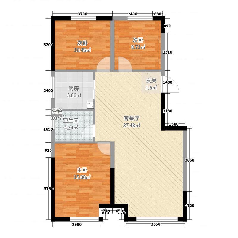 中海城13214.20㎡B1边户户型3室2厅1卫1厨