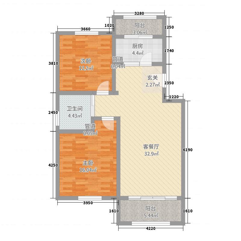 耐力・幸福里6.55㎡D户型2室2厅1卫1厨
