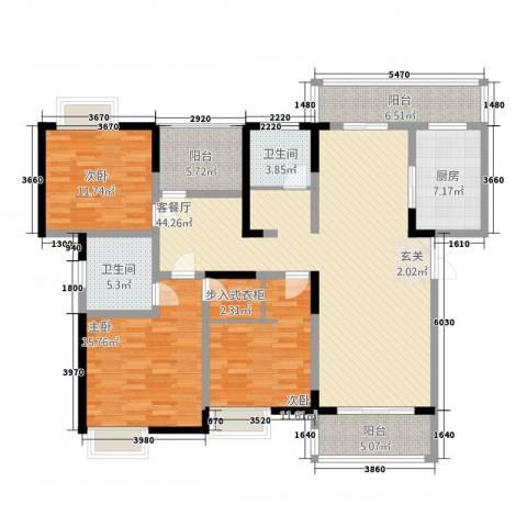 中联・君悦3室1厅2卫1厨174.00㎡户型图
