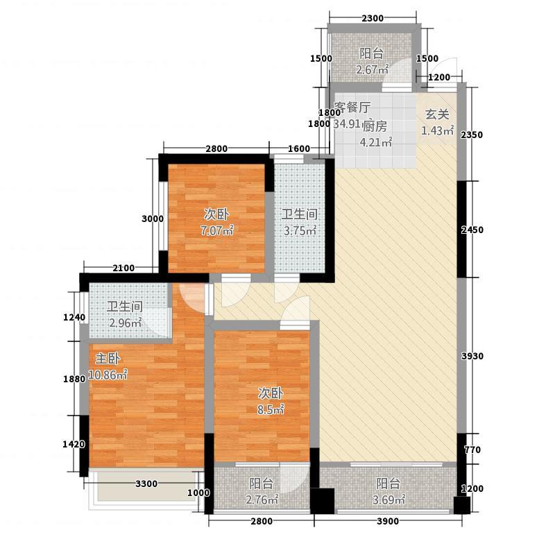 志丰财富公馆8.81㎡M户型3室2厅2卫1厨