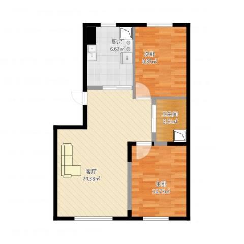 新星宇和源2室1厅1卫1厨78.00㎡户型图