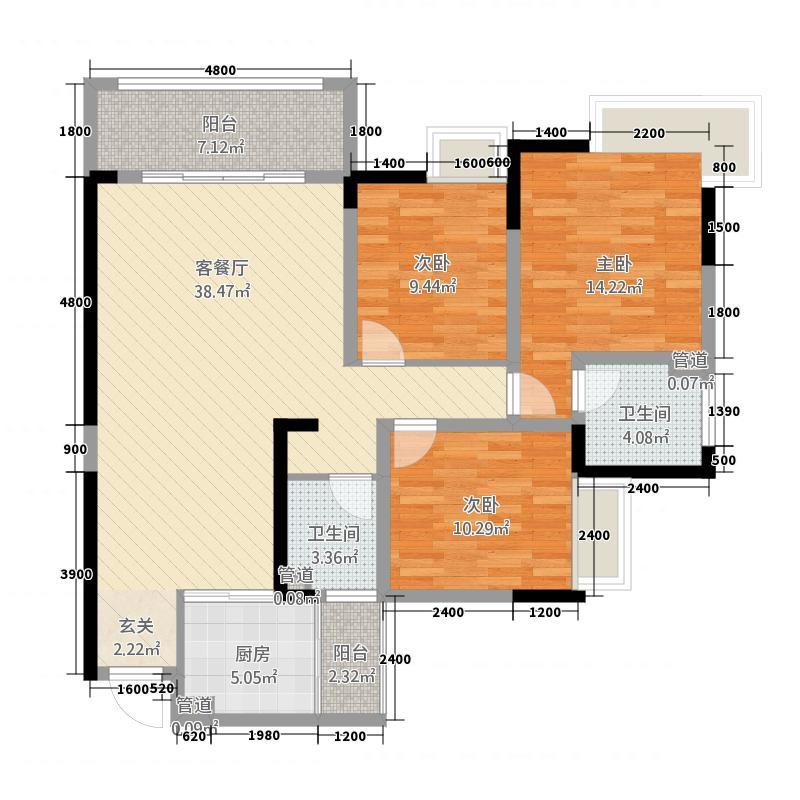 宏大广场3125.87㎡户型3室2厅2卫1厨