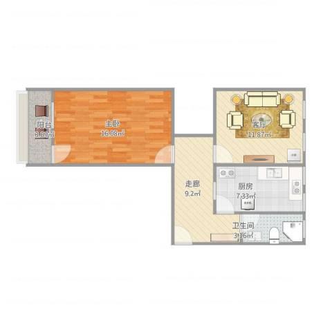 甸柳小区1室1厅1卫1厨69.00㎡户型图