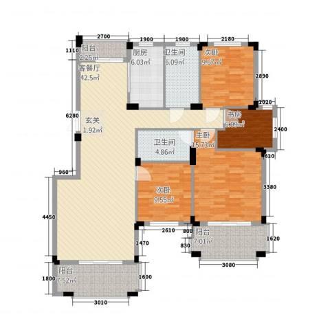 新源金碧秋浦4室1厅2卫1厨143.00㎡户型图