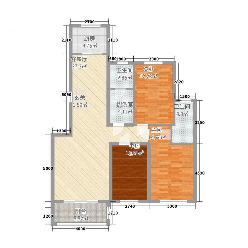 御湖国际213.42㎡9号楼A-2-01户型3室2厅2卫1厨