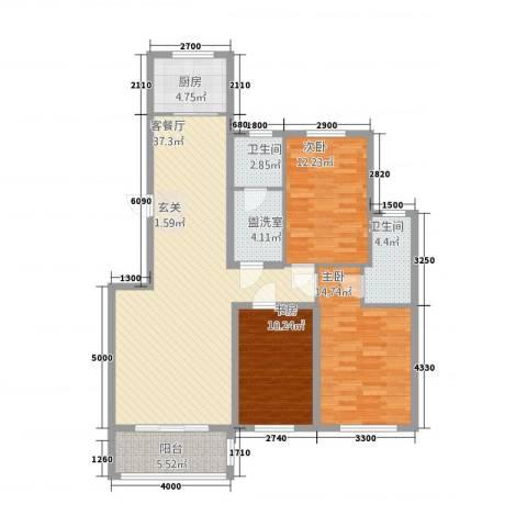 御湖国际3室2厅2卫1厨213.00㎡户型图