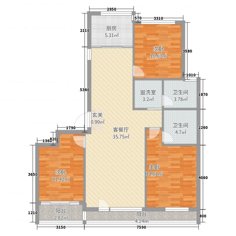 德润绿城百合园136.20㎡一期小高层C户型3室2厅2卫1厨