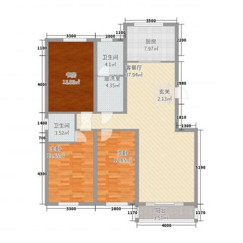 御湖国际3室2厅2卫1厨113.00㎡户型图