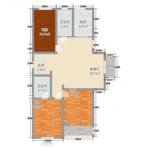 御湖国际3室1厅2卫1厨3139.00㎡户型图