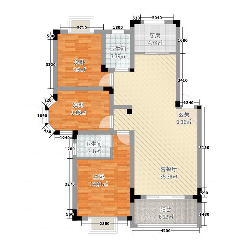锦绣江南315.76㎡户型3室2厅2卫1厨