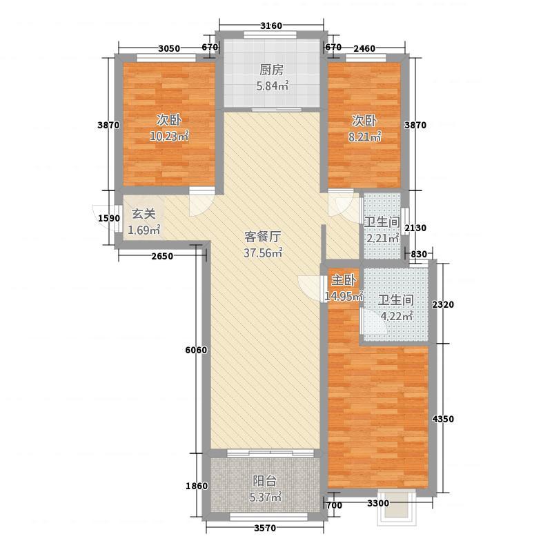 天荷御园126.50㎡东方府邸户型3室2厅2卫1厨