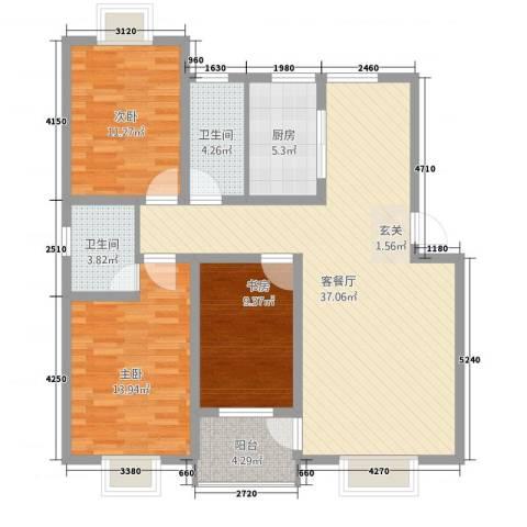 华晋佳苑3室1厅2卫1厨23128.00㎡户型图