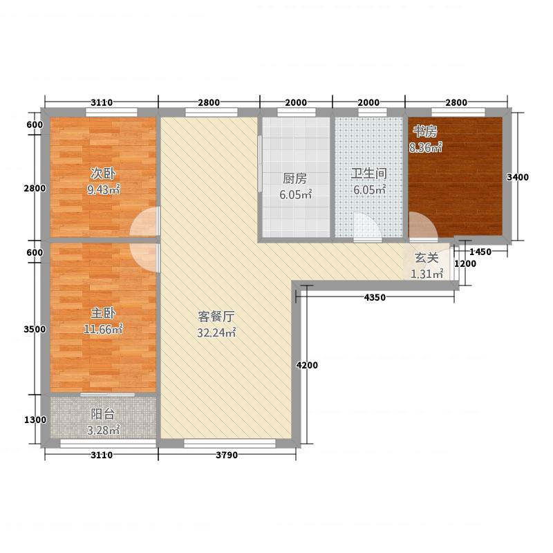 建投聚银新都13215.22㎡户型3室2厅1卫1厨