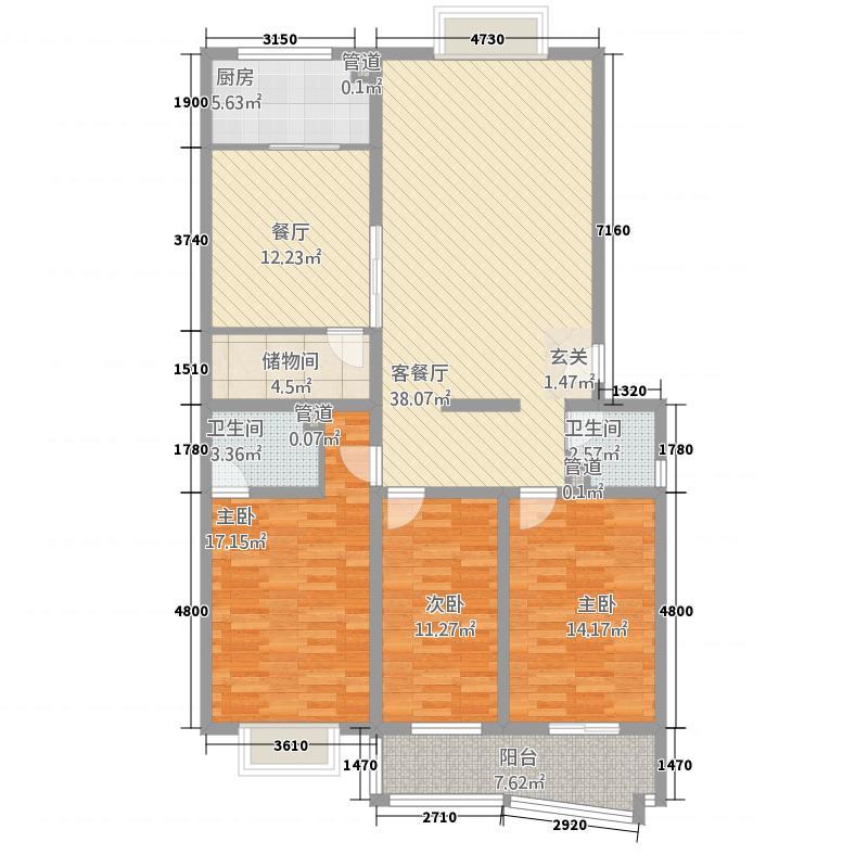 名鉴田园32142.20㎡C户型3室2厅1卫1厨