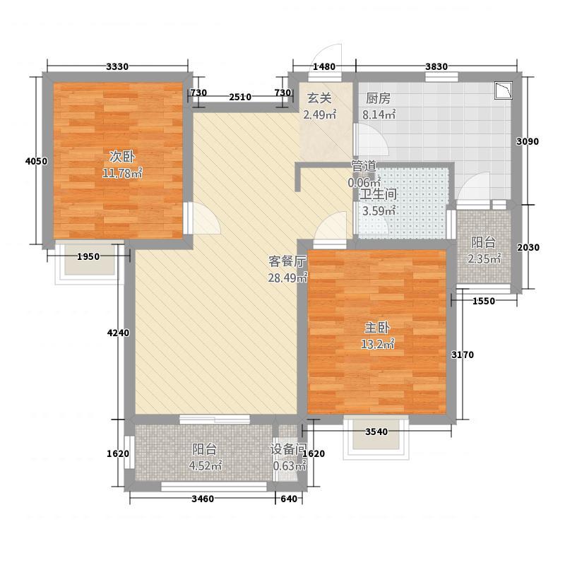新世纪清华园5.20㎡J户型2室2厅1卫1厨