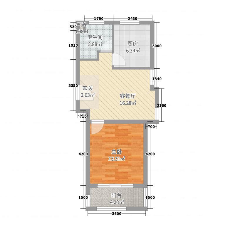 太阳岛花园4852.20㎡E0L户型1室1厅1卫1厨