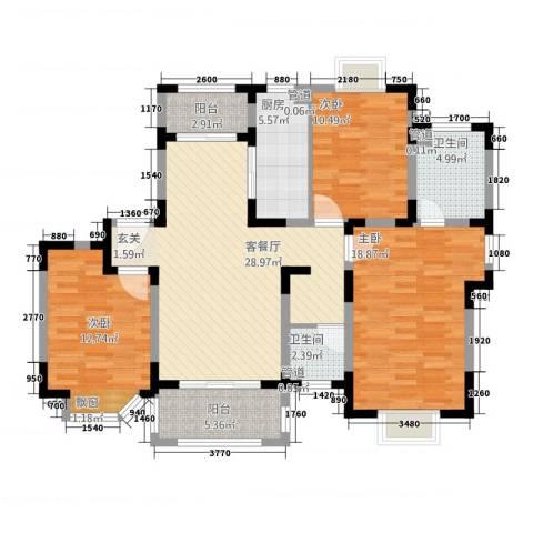 农房・英伦尊邸3室1厅2卫1厨134.00㎡户型图
