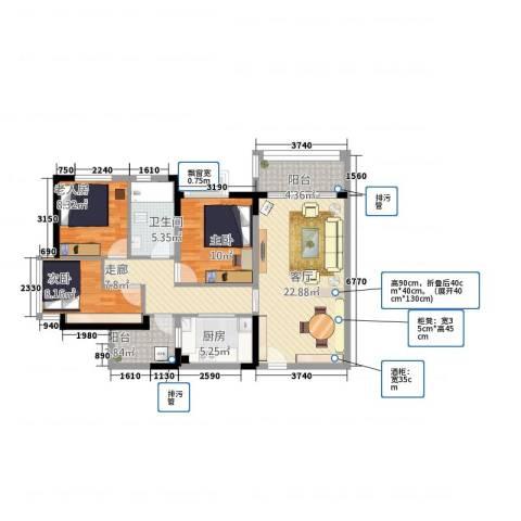 龙军花园3室1厅1卫1厨101.00㎡户型图