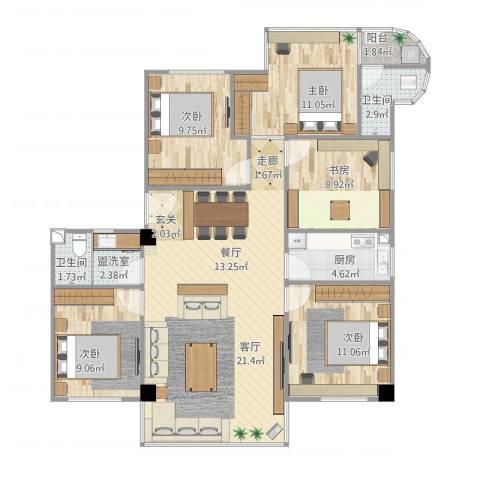 隆基怡苑5室1厅2卫1厨134.00㎡户型图