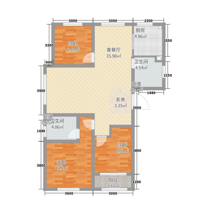 星合国际1124.20㎡C1库・户型3室2厅1卫1厨