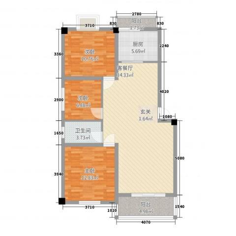 合顺景苑3室1厅1卫1厨115.00㎡户型图