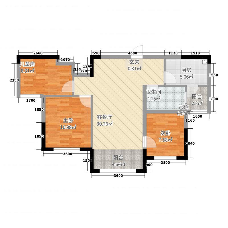 迁安碧桂园64565.20㎡J645b6-B户型3室2厅1卫1厨