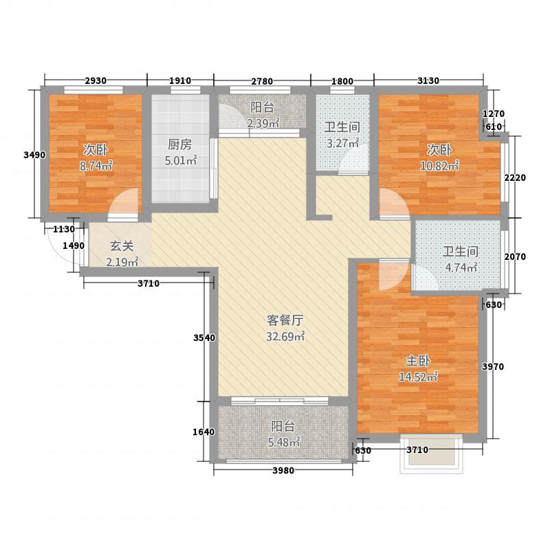 成邑德润华庭1126.20㎡10号楼A-1户型3室2厅2卫1厨