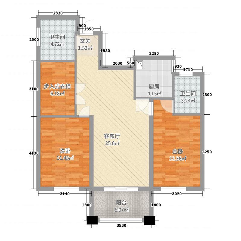豪成贝利花苑117.20㎡H户型2室2厅2卫1厨