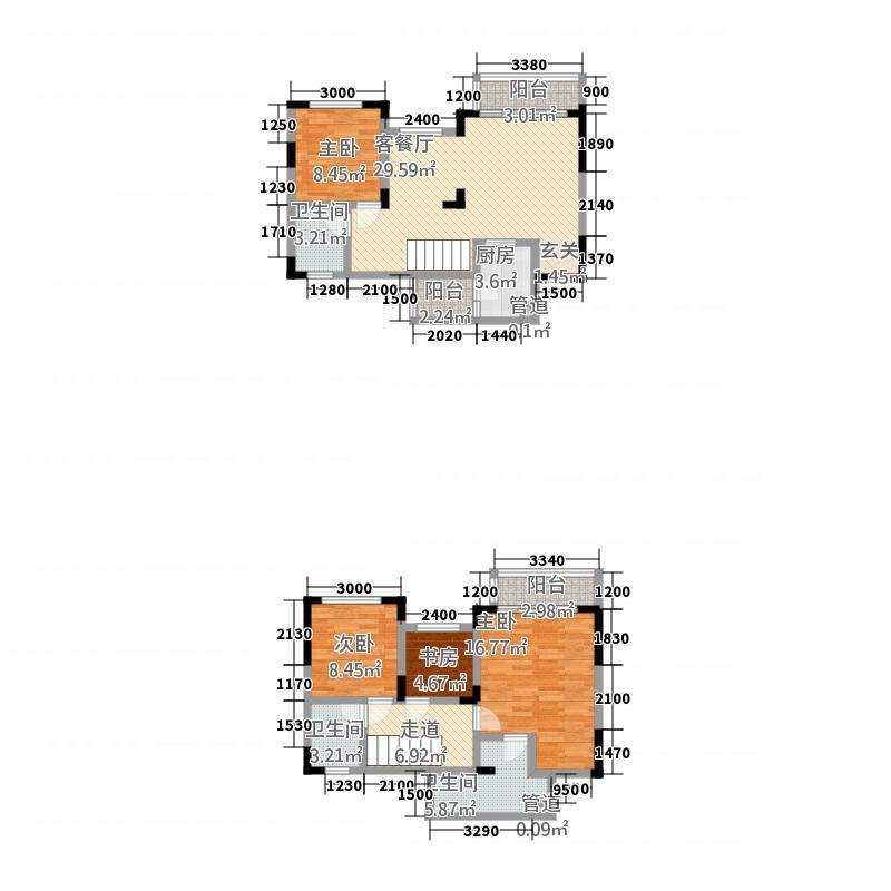 城海・滨江春城3户型3室2厅2卫1厨