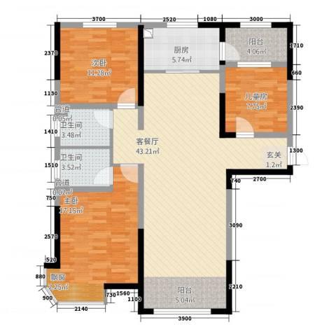 迁安碧桂园3室1厅2卫1厨6456133.00㎡户型图
