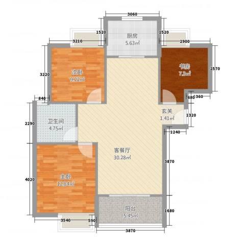 雍福上城3室1厅1卫1厨84.00㎡户型图