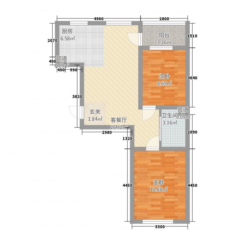 华大城1376.35㎡二期B1#楼E3户型2室2厅1卫1厨