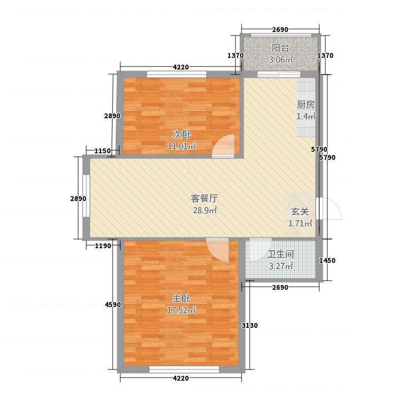 林苑之声2187.62㎡C户型2室1厅1卫1厨