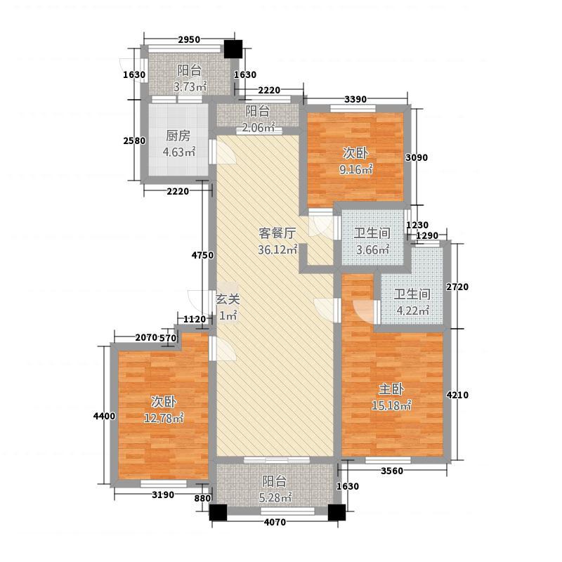 豪成贝利花苑141.20㎡D户型3室2厅2卫1厨