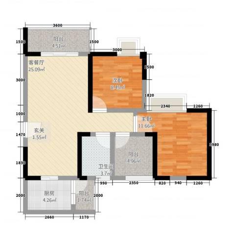 风格嘉居2室1厅1卫1厨1288.00㎡户型图