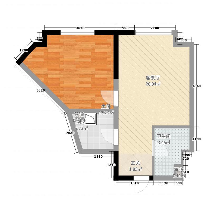 益田枫露66.62㎡公寓B户型1室1厅1卫