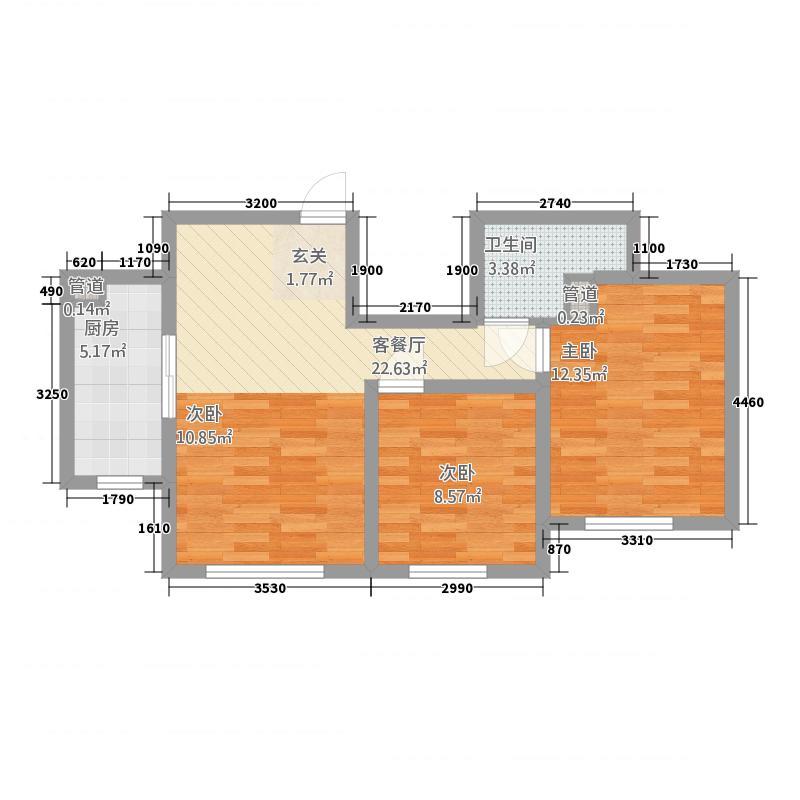 华大城1576.22㎡二期B1#楼E5户型3室1厅1卫1厨